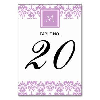 Your Monogram Purple Damask Pattern 2 Table Card