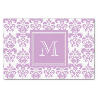Your Monogram, Purple Damask Pattern 2 Tissue Paper