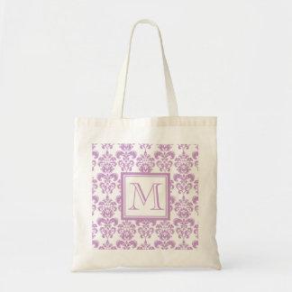 Your Monogram, Purple Damask Pattern 2 Tote Bag