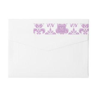 Your Monogram, Purple Damask Pattern 2 Wraparound Return Address Label