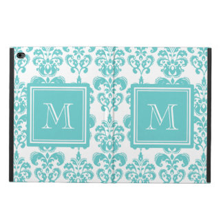 Your Monogram, Teal Damask Pattern 2