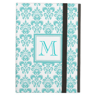 Your Monogram, Teal Damask Pattern 2 Cover For iPad Air