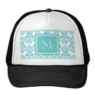 Your Monogram Teal Damask Pattern 2 Mesh Hats