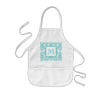 Monogram Damask Pattern Apron