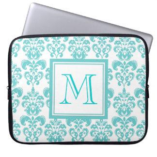 Your Monogram, Teal Damask Pattern 2 Laptop Sleeve