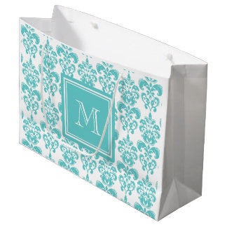 Your Monogram, Teal Damask Pattern 2 Large Gift Bag