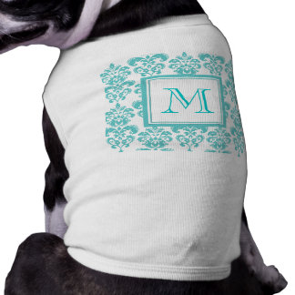 Your Monogram, Teal Damask Pattern 2 Shirt