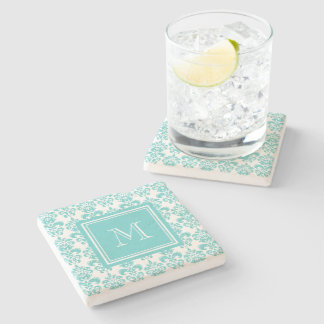Your Monogram, Teal Damask Pattern 2 Stone Coaster