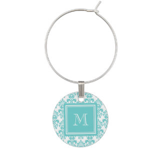 Your Monogram, Teal Damask Pattern 2 Wine Charm
