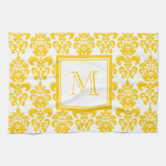 Your Monogram, Yellow Damask Pattern 2 Tea Towel