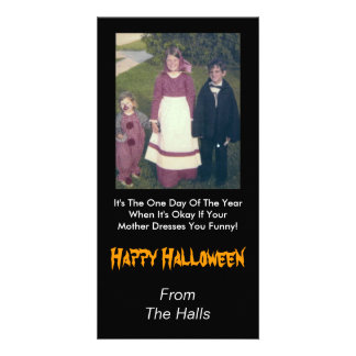 Your Mother Dress You Funny Halloween Personalized Photo Card
