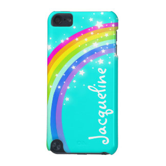 Your name 10 letter rainbow aqua ipod case