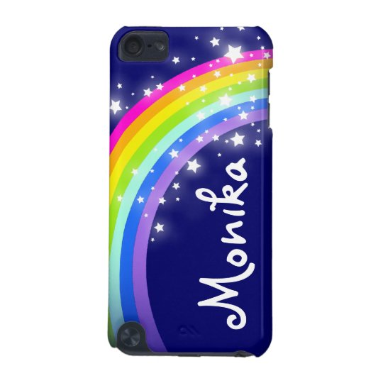 """Your name"" (6 letter) rainbow on navy ipod case"
