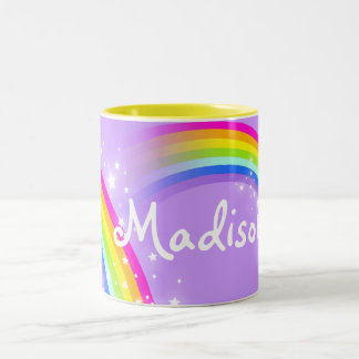"""Your name"" (7 letters) girls rainbow violet mug"