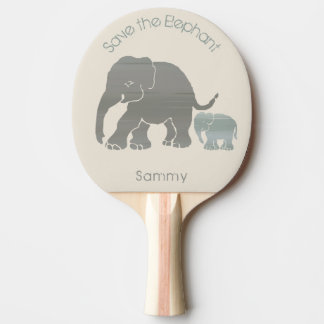 Your name and custom slogan cute elephants ping pong paddle