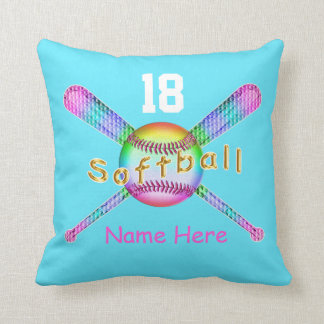 YOUR NAME and NUMBER on Cool Softball Pillows