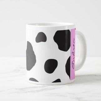 Your Name - Animal Print Cow Spots - Black Pink Jumbo Mugs