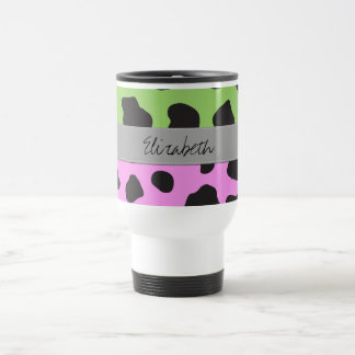 Your Name - Animal Print, Cow Spots - Pink Green Coffee Mugs