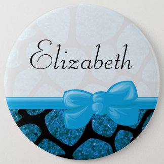 Your Name - Animal Print Giraffe, Glitter - Blue 6 Cm Round Badge