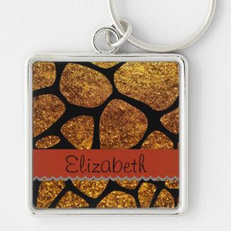 Your Name - Animal Print Giraffe, Glitter - Gold Silver-Colored Square Key Ring