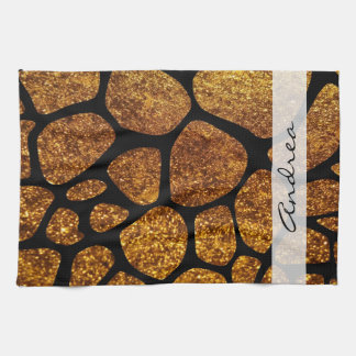 Your Name - Animal Print Giraffe, Glitter - Gold Tea Towel