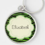 Your Name - Animal Print Zebra, Glitter - Green