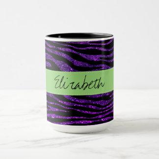 Your Name - Animal Print, Zebra, Glitter - Purple Mug