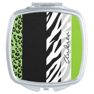 Your Name - Animal Print, Zebra, Leopard - Green Compact Mirror