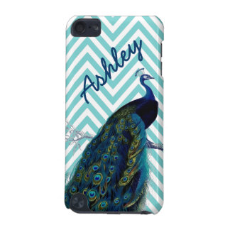 Your Name Aqua Chevron Vintage Peacock iPod Touch (5th Generation) Case