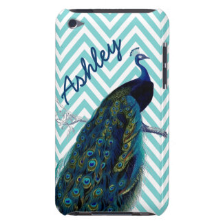 Your Name Aqua Chevron Vintage Peacock iPod Touch Case