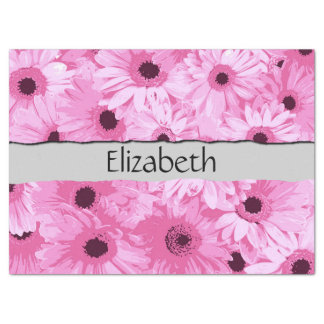 "Your Name - Blooming Gerbera Flowers - Pink 17"" X 23"" Tissue Paper"