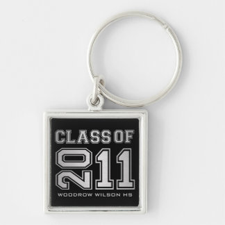 """""""your name"""" Class of 2011 Key-Chain (silver) Silver-Colored Square Key Ring"""