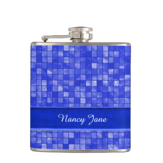 Your name, Cobalt Blue Geometric Tile Hip Flask