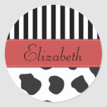 Your Name Cow Stripes Black White Red Sticker