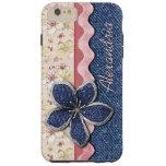 Your Name Cute Denim Jeans Pastel Floral Pattern Tough iPhone 6 Plus Case