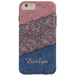 Your Name Cute Modern Stylish Floral Lace Pattern Tough iPhone 6 Plus Case