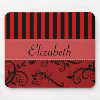 Your Name - Damask, Ornaments, Stripes - Red Black Mouse Pad