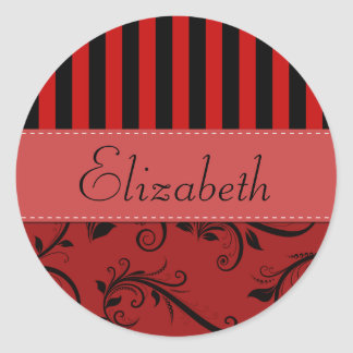 Your Name - Damask, Ornaments, Stripes - Red Black Round Sticker