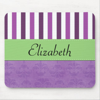 Your Name - Damask, Stripes - Purple White Green Mousepads