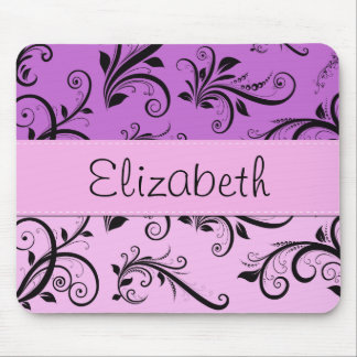 Your Name - Damask, Swirls - Pink Black Purple Mouse Pad