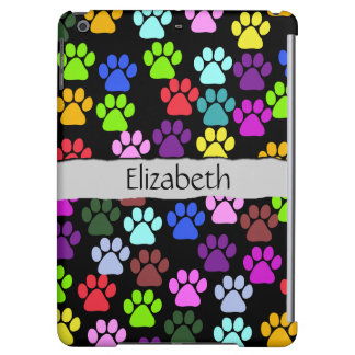 Your Name - Dog Paws, Paw-prints - Red Blue Green Case For iPad Air