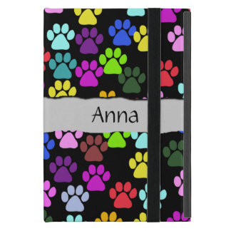 Your Name - Dog Paws, Paw-prints - Red Blue Green iPad Mini Cover