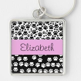 Your Name - Dog Paws, Paw-prints - White Black Key Ring