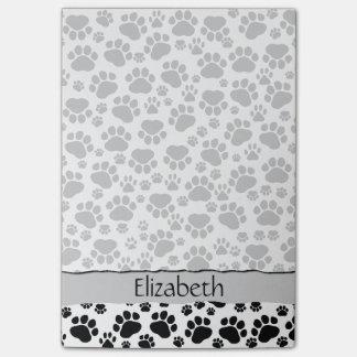 Your Name - Dog Paws, Paw-prints - White Black Post-it Notes