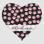 Your Name - Dog Paws, Traces - Pink Black Heart Sticker