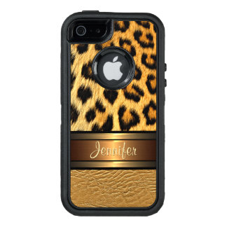 Your Name Faux Leopard Skin Gold Leather Pattern OtterBox iPhone 5/5s/SE Case