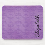 Your Name - French Damask, Ornaments - Purple Mouse Mats