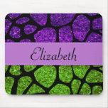 Your Name - Giraffe Print, Glitter - Green Purple Mousepad