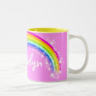 """""""Your name"""" girls rainbow light pink mug"""