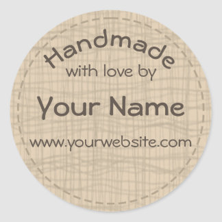 Your Name Handmade By Round Sticker Burlap Gauze
